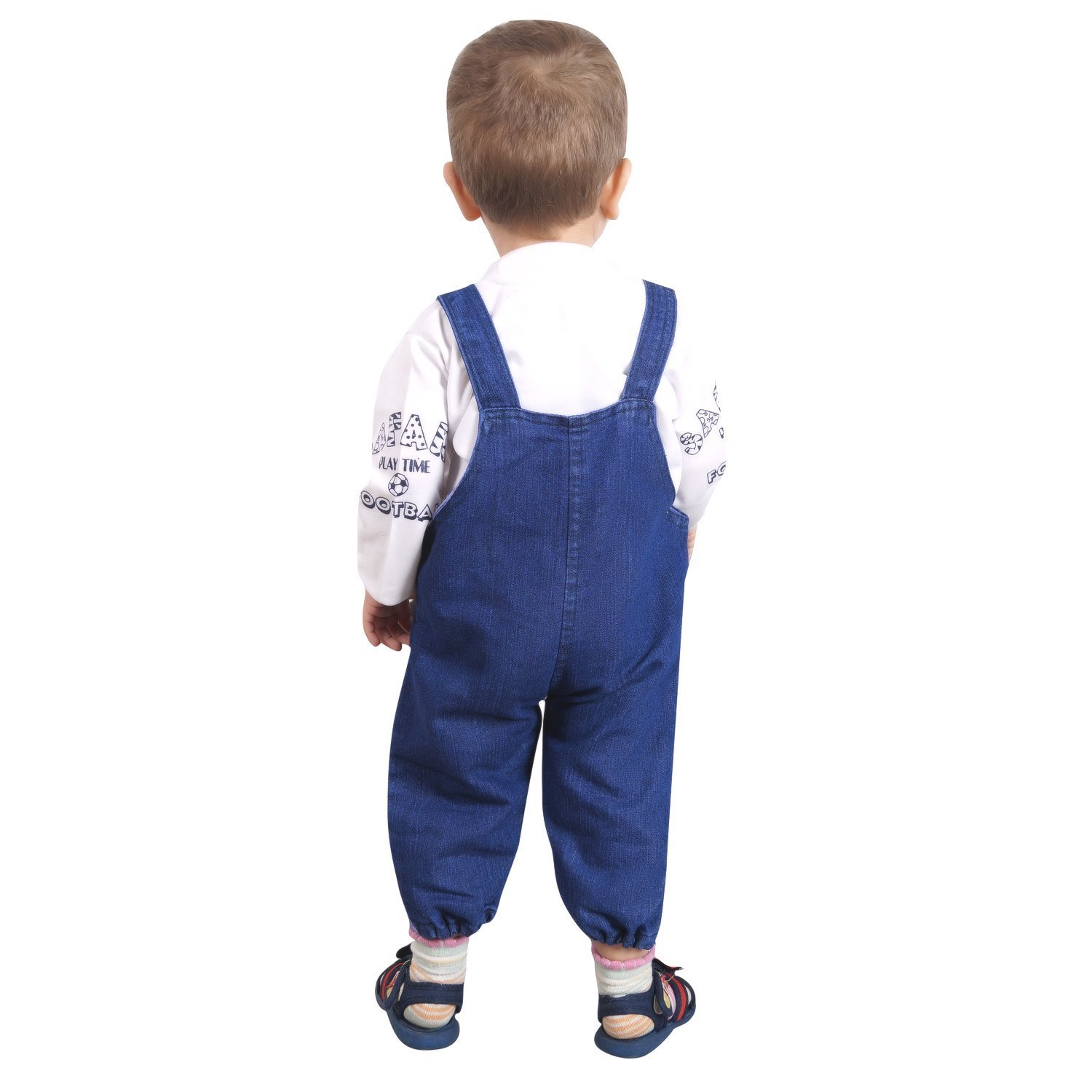 Manraj Collection Baby Boy Girl Full Sleeves Denim Dungaree Mom N Bab Dress Vest Blue With T Shirt Hosiery Soft Cotton Touch 12 18 Months