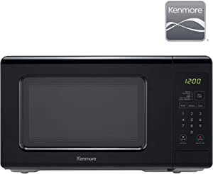 Kenmore 70729 0.7 cu. ft Compact 700 Watts 10 Power Settings, 6 Heating Presets, Removable Turntable, ADA Compliant Small Countertop Microwave, Black