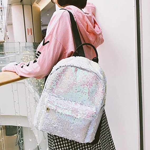 Amazon.com: Joopee Women Sparkling Backpack Fashion School Bag Sequins Travel Satchel Shoulders Bag (White): Home & Kitchen