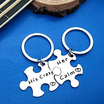 Couples Gift Couples Keychain Set His and Hers Gift Crazy Matching Set Gift Boyfriend Girlfriend Keychain Calm Matching Couples Key chain