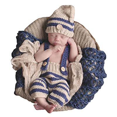 SUNBABY Newborn Baby Handmade Crochet Knitting Costume Infant Photo Photography Prop Hats Pants Suit (Rompers Suit), Medium Size: Clothing