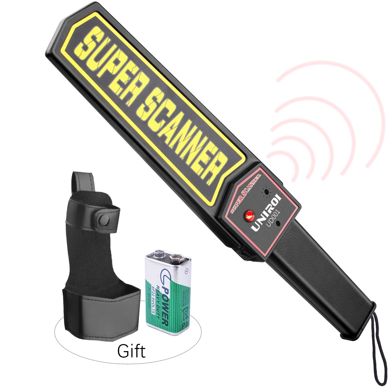 UNIROI Hand Held Metal Detector Wand Security Scanner 9V Battery, Belt Holster, Adjustable Sensitivity, Optional Sound & Vibration Modes Airport, Open Port, Frontier, Company Entrance UD001