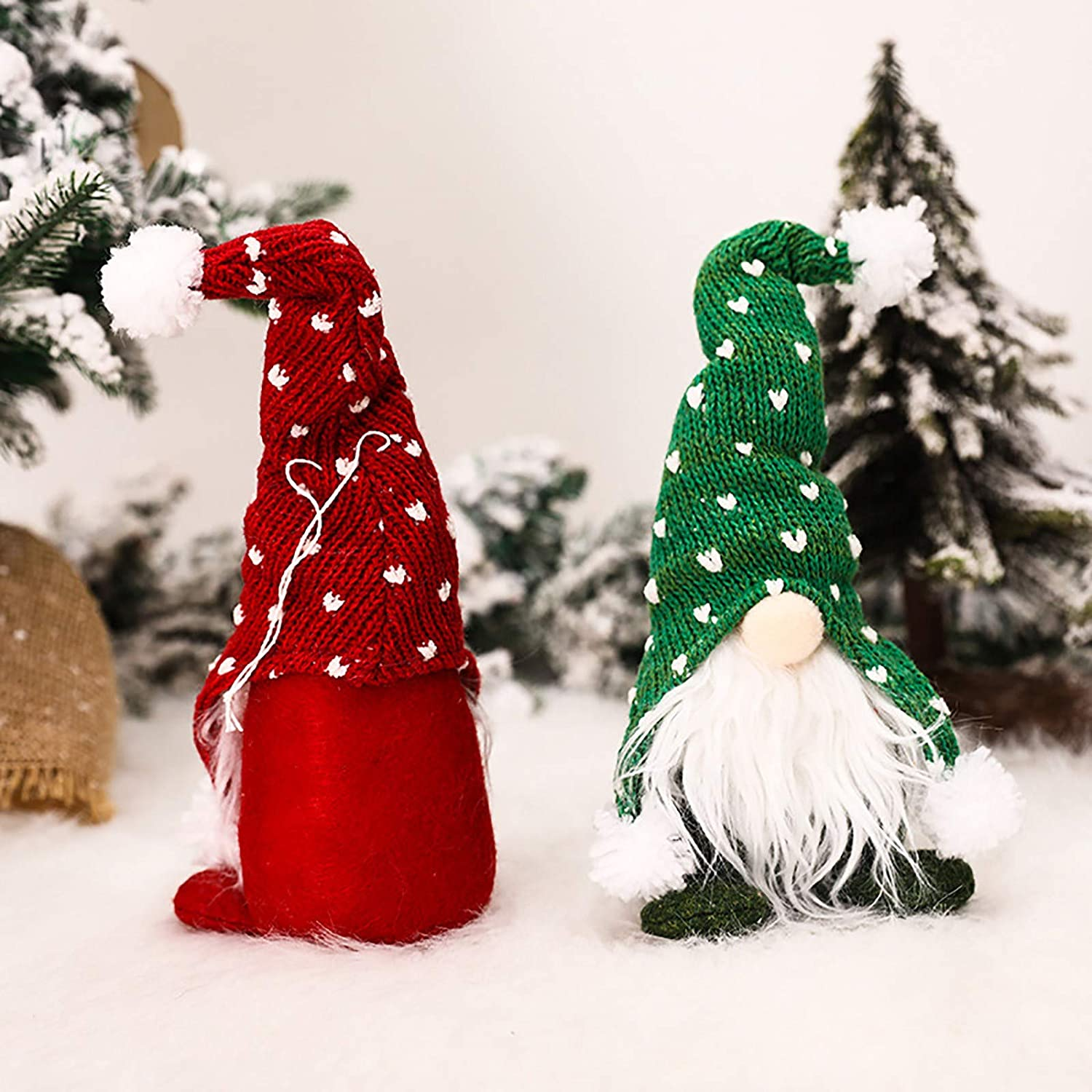 Red winwintom Christmas Tree Ornaments Faceless Doll Plush Long Hat Forest Man Santa Claus Birthday Present Holiday Home Table Decor Ornaments
