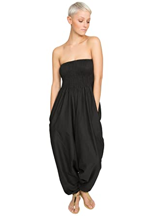 Amazon.com: Cotton Maxi Harem Pants Romper Jumpsuit Black, one ...