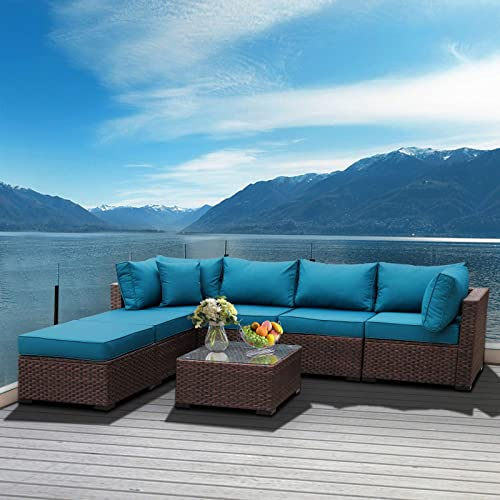 Outdoor Patio Brown Rattan 7 Piece Sectional Furniture Set PE Wicker Conversation Sofa