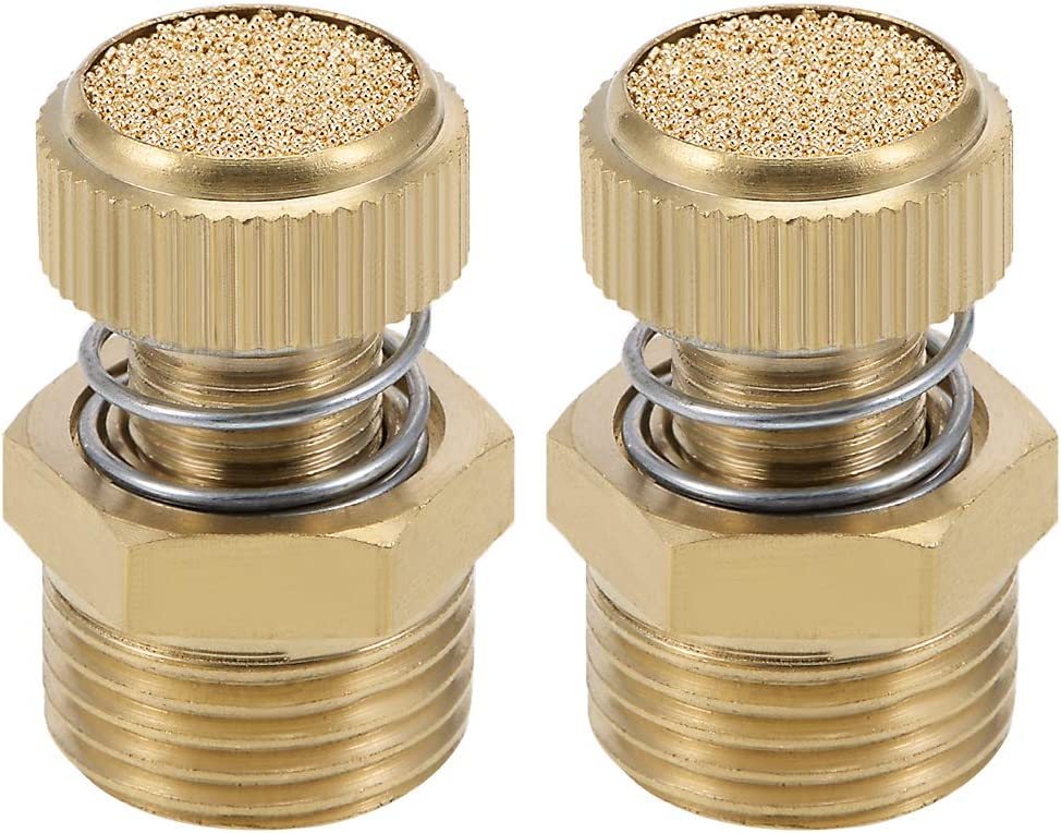 uxcell Adjustable Pneumatic Air Exhaust Silencer Muffler Copper 1//4 BSPT with Spring Loaded Gold Tone 1pcs