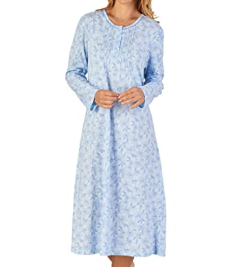 Slenderella Ladies Floral Meadow Jersey Cotton Nightdress Long Sleeved  Nightie (3 Colours)  Amazon.co.uk  Clothing 312c62bcc