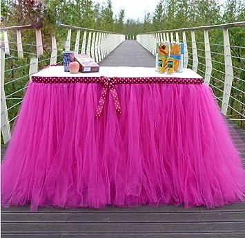 XUAN Falda de mesa tul elegante lujo hecho a mano para decoración ...