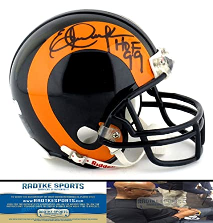 ed35abd1e6c Amazon.com  Eric Dickerson Autographed Signed Los Angeles Rams Riddell  Throwback NFL Mini Helmet with