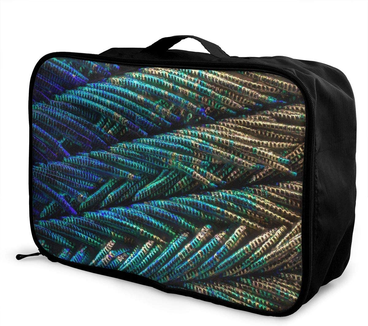 Peacock-feather Travel Carry-on Luggage Weekender Bag Overnight Tote Flight Duffel In Trolley Handle