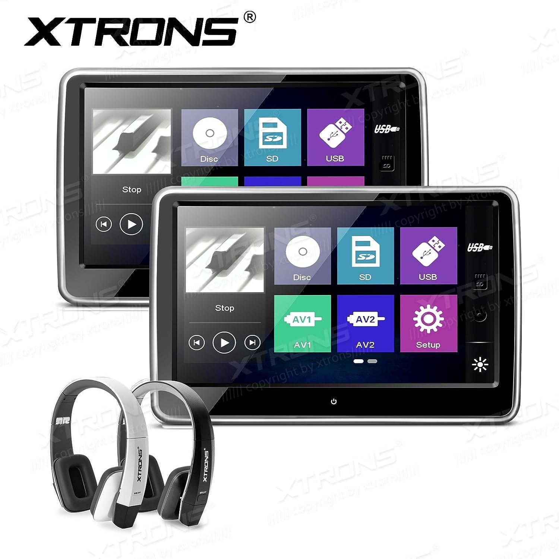 XTRONS 10.1インチHD TFTデジタル静電容量方式タッチスクリーン車ヘッドレストDVDプレーヤー1080pビデオ ブラック HD101THx2+DWH005+DWH006 B077QJS93M HD101THx2+DWH005+DWH006 HD101THx2+DWH005+DWH006
