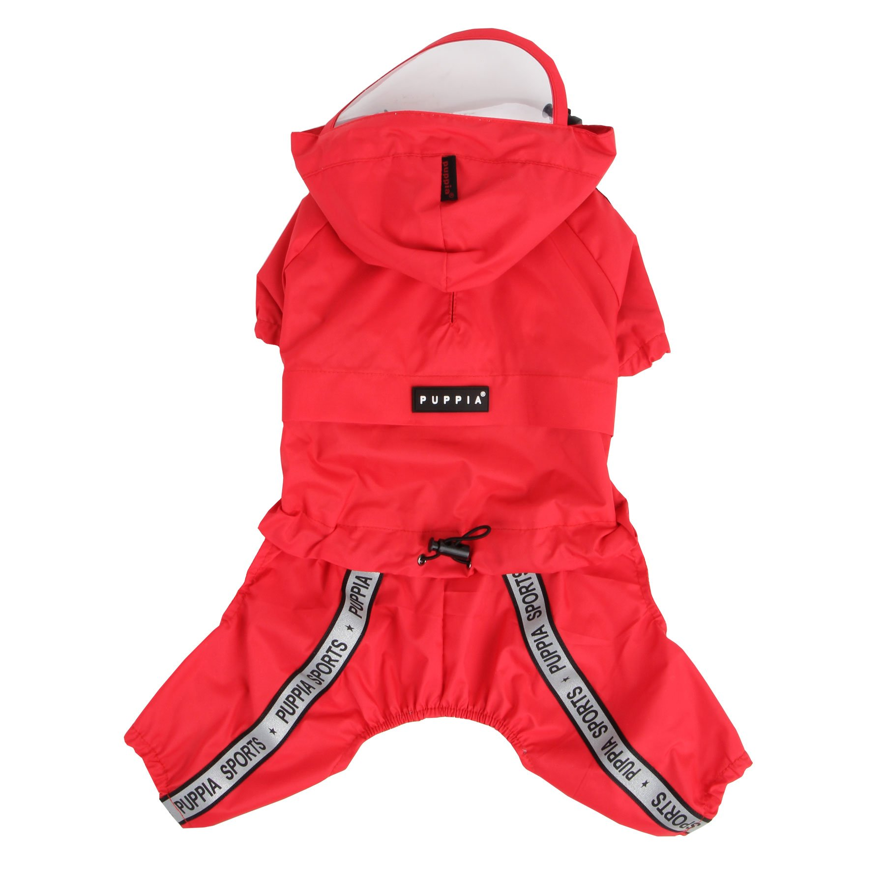 Authentic Puppia Race Track Hooded Jumpsuit, Red, Medium