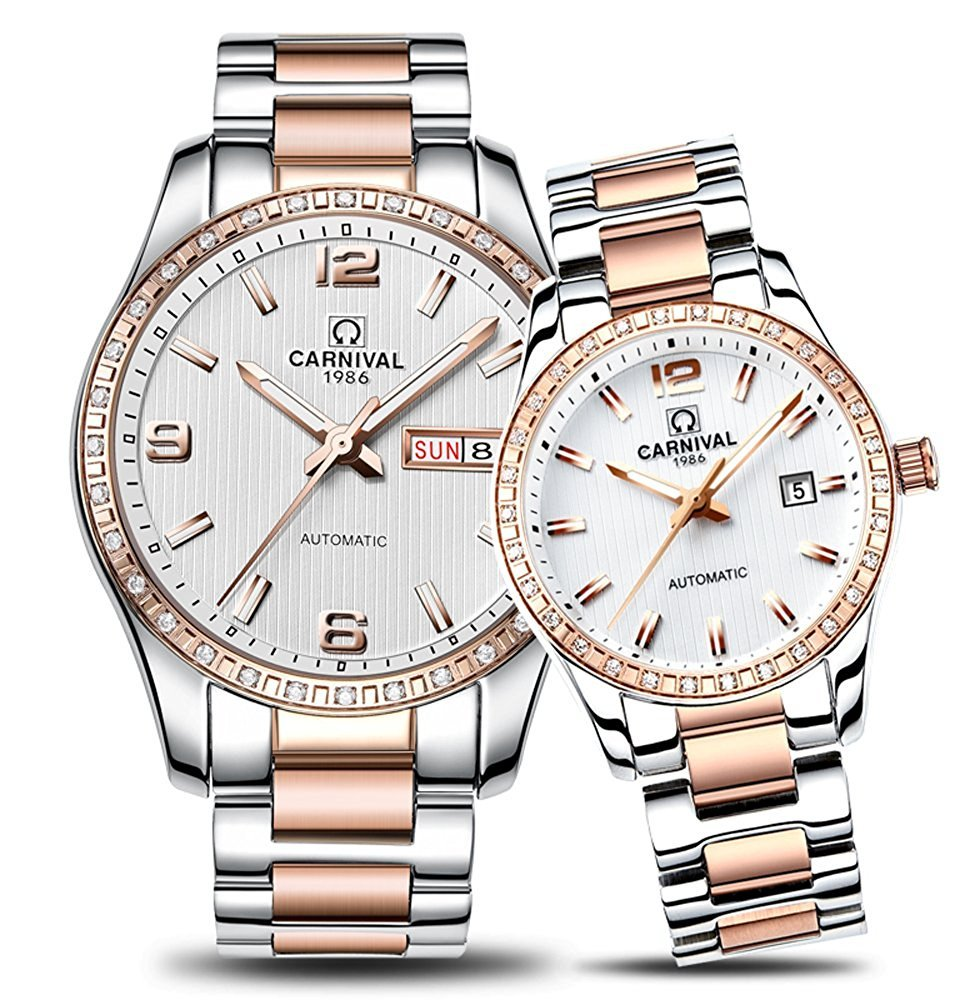 Couple Stainless Steel Automatic Mechanical Watch Sapphire Glass Watches for Her or His Gift Set 2 (Rose Gold/White)
