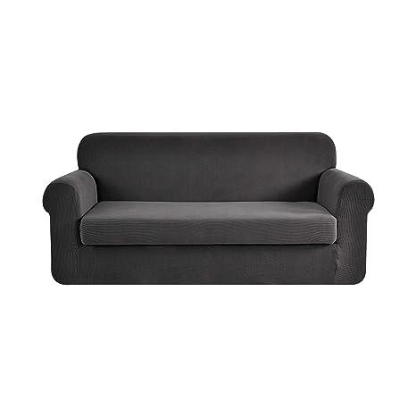 Ebeta Tunez Funda sofá Duplex, Funda de sofá, Tejido Jacquard de poliéster y Elastano, Funda de Clic-clac elástica Cubiertas de sofá de 2 Plaza (Gris ...