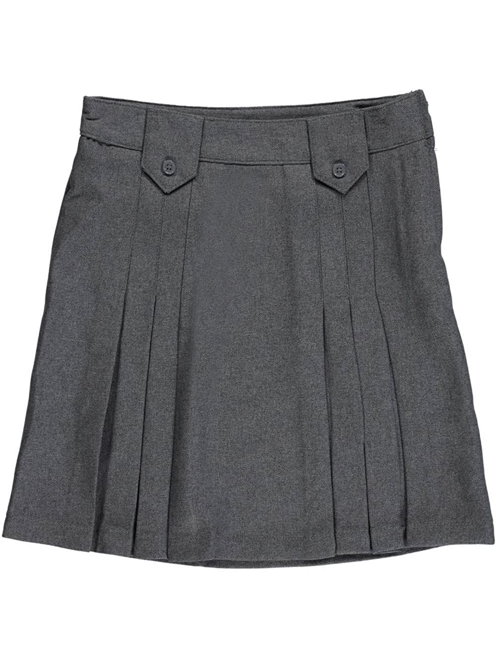 French Toast Big Girls' Pleat and Tab Skirt - Gray, 14