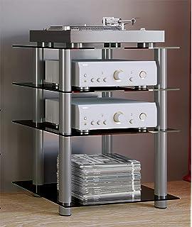 FITUEYES Mueble HiFi para Equipo de Música Mueble Auxiliar TV con 4 Estante de Vidrio Templado 60 x 45,5 x 77 cm: Amazon.es: Electrónica