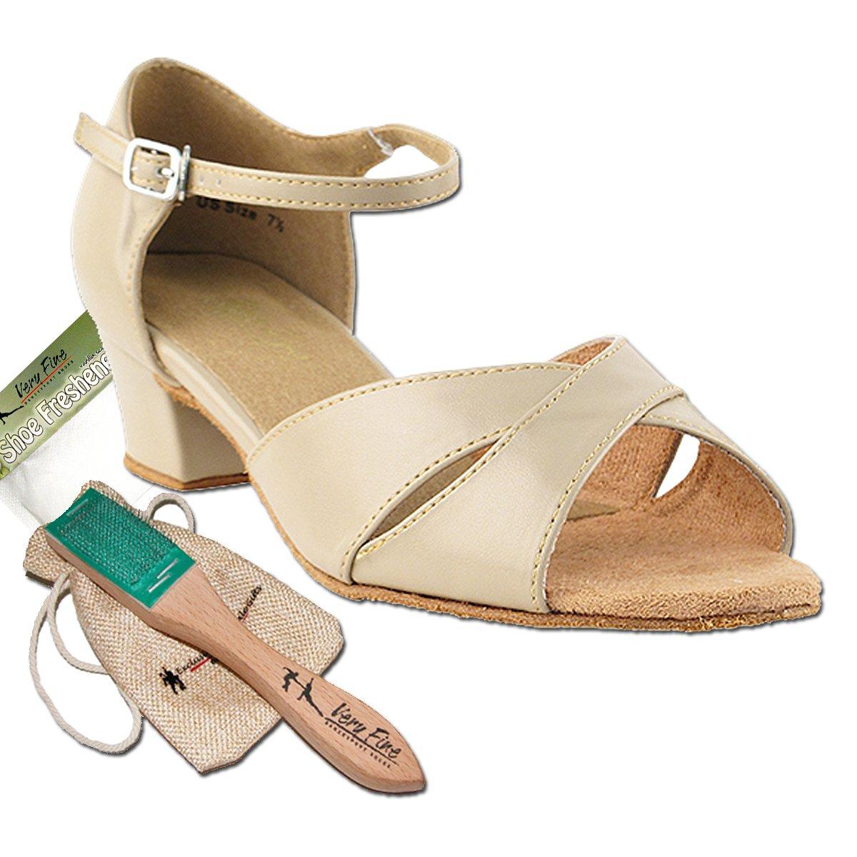 Women's Ballroom Dance Shoes Salsa Latin Practice Dance Shoes Tan Leather 803EB Comfortable - Very Fine 1.5'' Heel 7 M US [Bundle of 5]