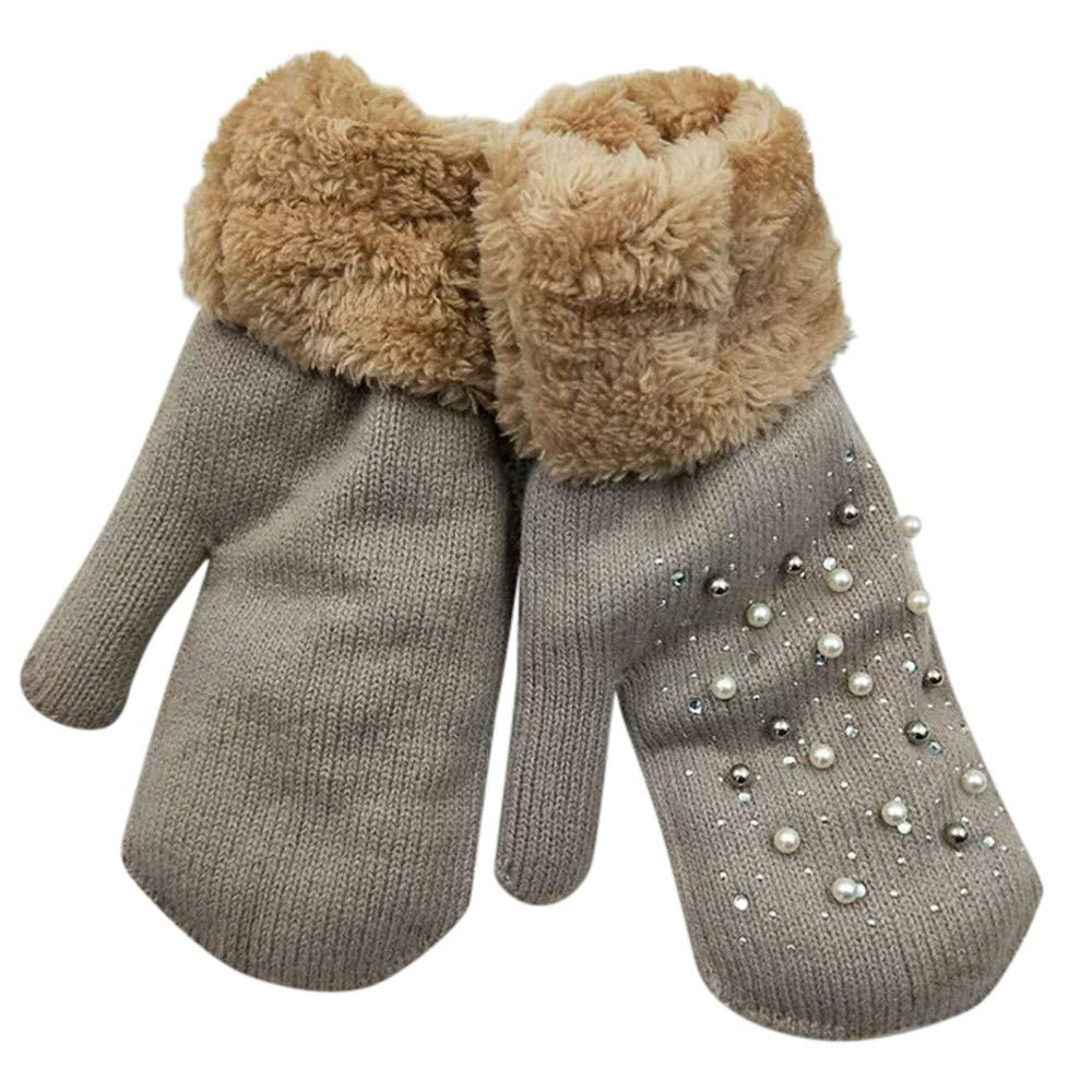 Cinhent Gloves Womens Retro Thick Wool Knitted Plush Daily Warmer Mittens