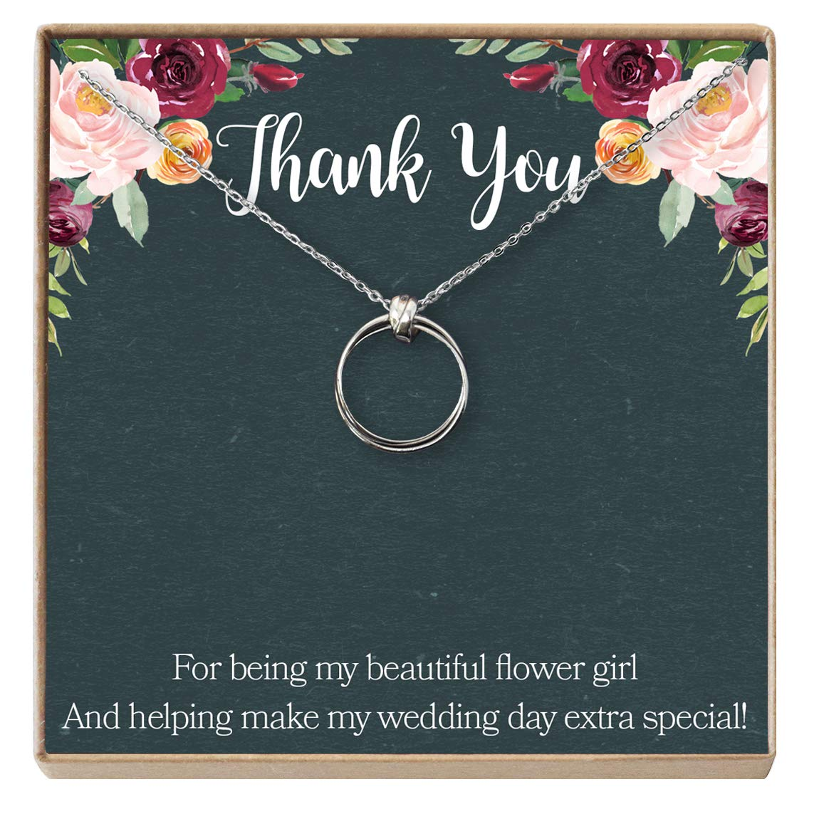 Wedding Party Gift Thank You Gift Dear Ava Flower Girl Gift Necklace: Bridal Party Gift 2 Linked Circles