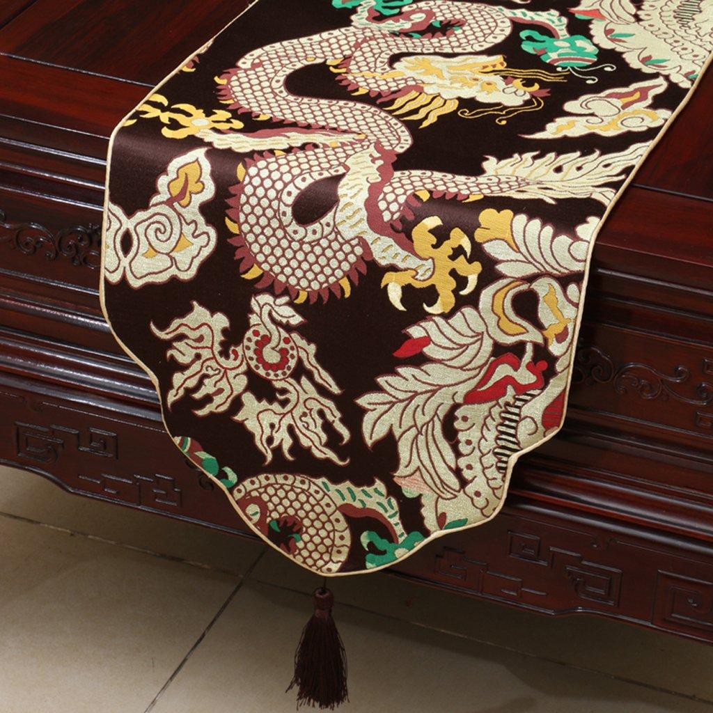 Met Love Rejilla marrón Patrón de la flor Tela Corredor de la tabla Moderno Simple Moda Upscale Salón Restaurante Restaurante Hotel Textiles para el Hogar (Este producto sólo vende corredor de mesa) 33  230cm