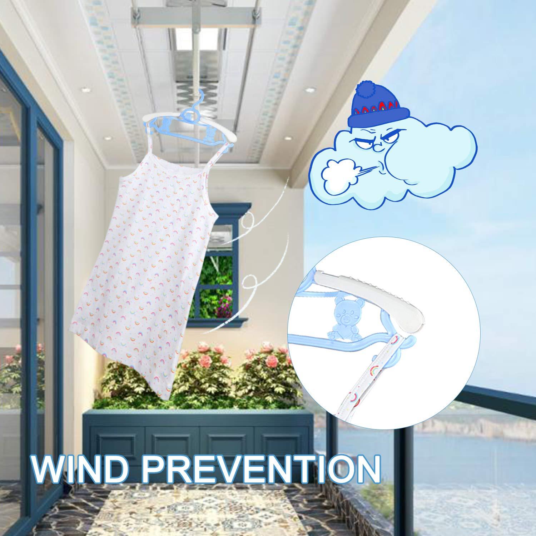 Zebricolo Perchas Infantiles para Bebé Niños Ajustables de Plástico Antideslizantes para Ropa Resistentes (10 Azul)