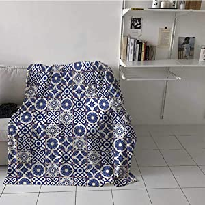 Soft and Cozy Blanket Old Ottoman Style Inspired Mix of Moroccan Tiles in Modern Shades Artwork Print All Season Blanket Machine Washable, Soft Comfy Breathable Grey Blue (30 x 40 Inches)