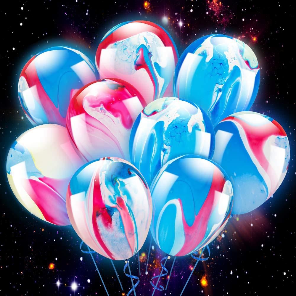 PROLOSO 20 Pcs LED Light Up Balloon Unicorn Pastel Jumbo Glow in the Dark Party Supplies