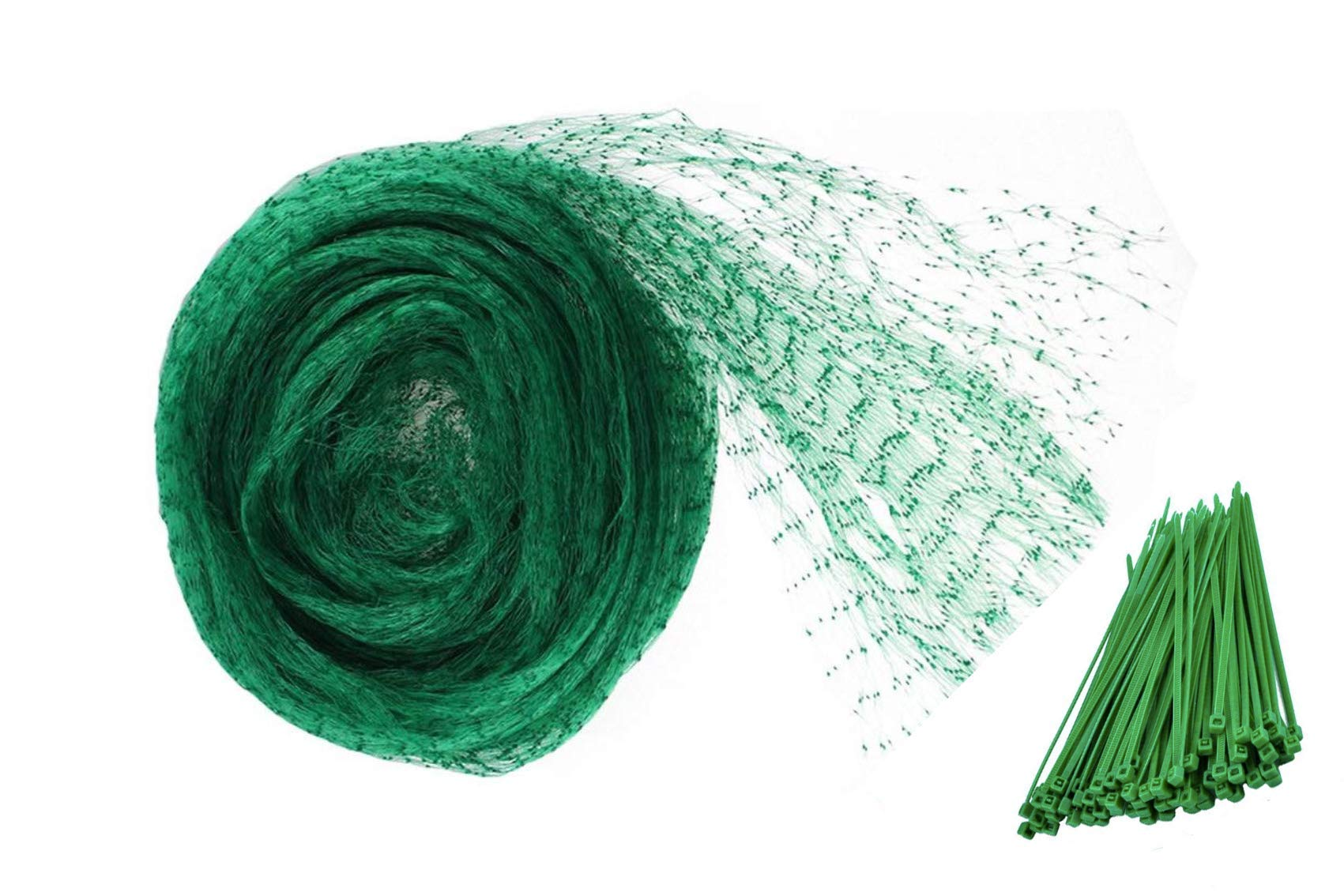 LAVZAN 26Ftx33Ft Green Anti-Bird Netting With 100 Pcs Nylon Cable Ties Protect Plants Fruit Trees Vegetables Flowers Seedlings from Birds Rodents Deer
