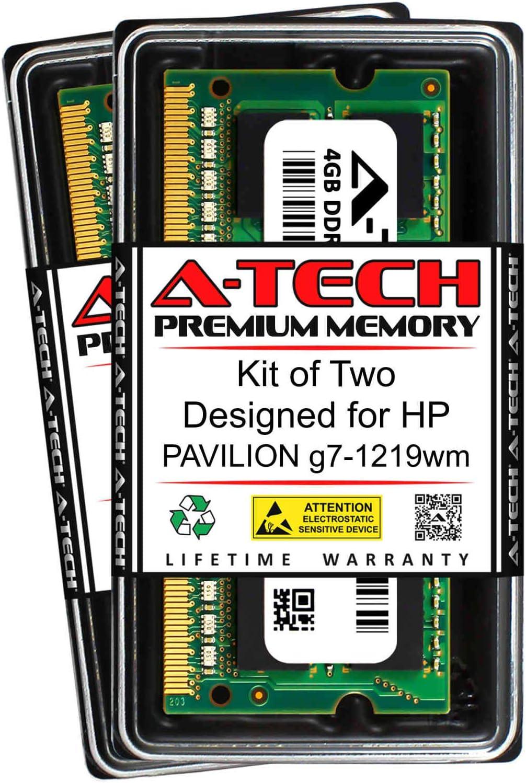 A-Tech 8GB (2 x 4GB) RAM for HP Pavilion G7-1219WM   DDR3 1333MHz SODIMM PC3-10600 204-Pin Non-ECC Memory Upgrade Kit