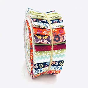 """Daisy Florals 100% Cotton Jelly Roll Fabric Strips Material for Quilting, Patchwork, Sewing, Art & Crafts - 40 Strips Bundle (2.5"""" W x 45"""" L)"""