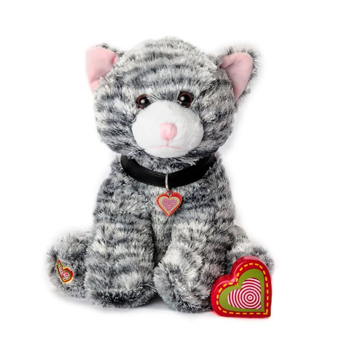 My Baby's Heartbeat Bear - Furbaby's Adorable Stuffed Animal with 20 Second Voice Recordable Heart - Gray Kitty