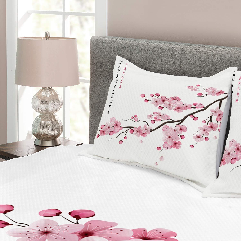 ABAKUHAUS asiatisch Tagesdecke Set Japanischer Kirschzweig Set mit Kissenbez/ügen Feste Farben f/ür Doppelbetten 220 x 220 cm Wei/ß Rosa