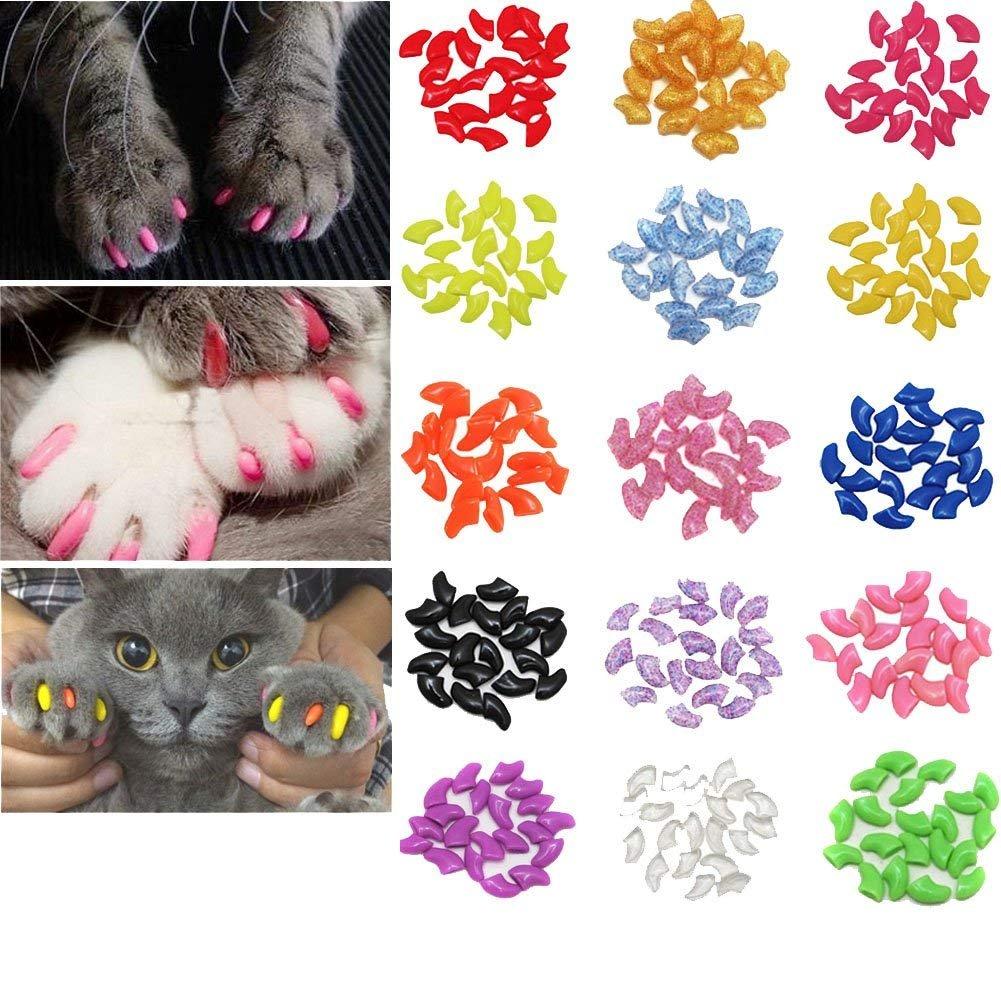 Peng Sheng 100Pcs Cat Nail Caps pour Animal Domestique Griffe de Chat Kitty Caches Contrôle Souple Pattes de 5Différents Coloré à Ongles Couvertures pour Chats + 5Colle Adhésive