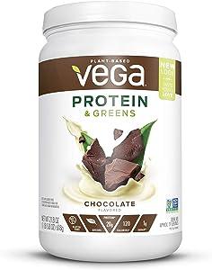 Vega Protein & Greens Powder Chocolate (Tub 21.8 Ounce) - Plant Based Protein Powder, Keto-Friendly, Gluten Free, Non Dairy, Vegan, Non Soy, Non GMO - (Packaging may vary)