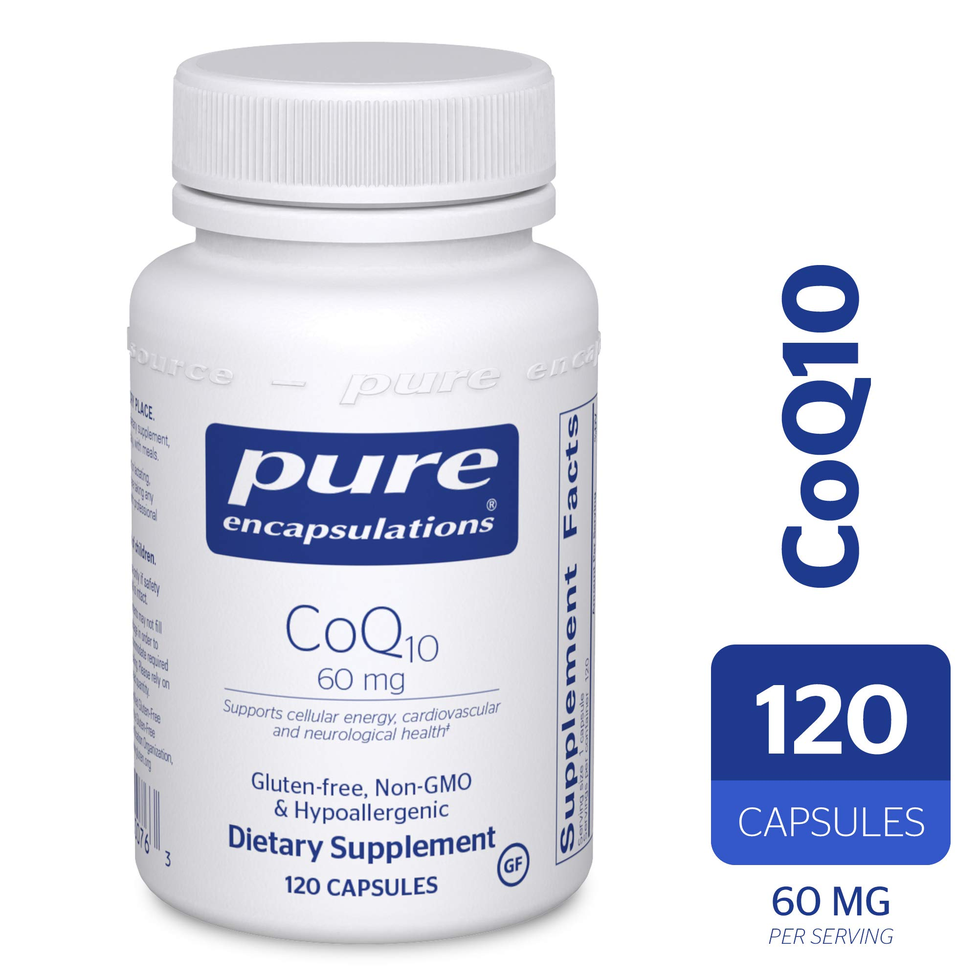 Pure Encapsulations - CoQ10 60 mg - Hypoallergenic Coenzyme Q10 Supplement - 120 Capsules