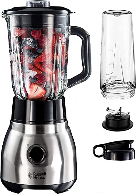 Russell Hobbs Standmixer Glas Steel 2-in-1, inkl. To-Go-Becher & Deckel, 1.5l Glasbehälter, Mixer 0.8 PS-Motor, Impuls-/Ice-Crush Funktion, mini Smoothie-Maker 23821-56 [Energieklasse A+++]