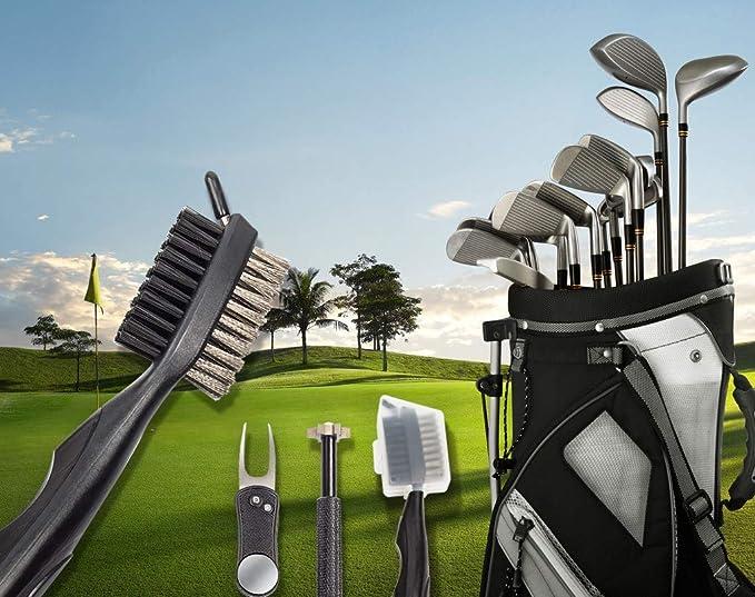 Cepillo del Club de Golf,Limpiador de Palos de Golf,Afilador de Palos de Golf con cortadores de 6 Cabezas (U, V),Afilador de Golf Palo,Herramienta ...
