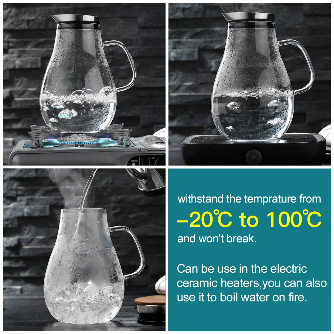 ONEISALL 85 Ounces Large Heat Resistant Glass Beverage Pitcher with Stainless Steel Lid, Borosilicate Water Carafe with Spout and Handle, Perfect for Homemade Juice & Iced Tea by Weisier (Image #6)