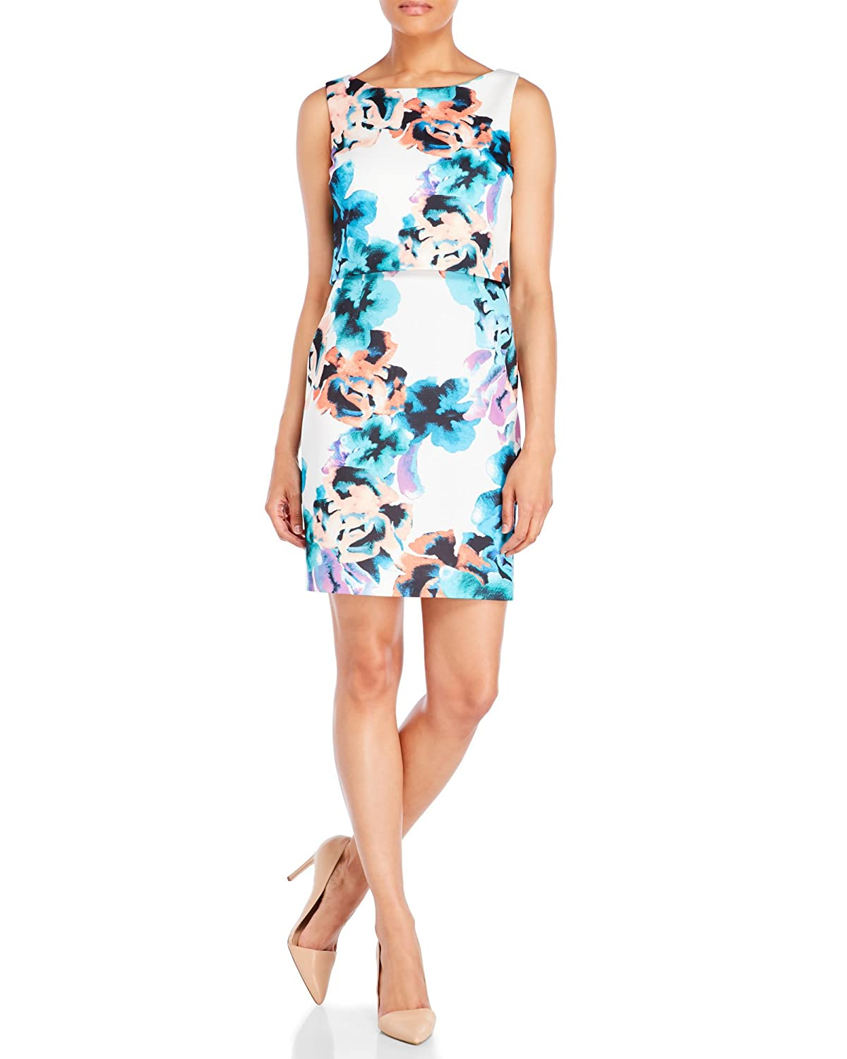 Multicolor Ivanka Trump Womens Linen Sleeveless Printed Pop Over Dress Dress