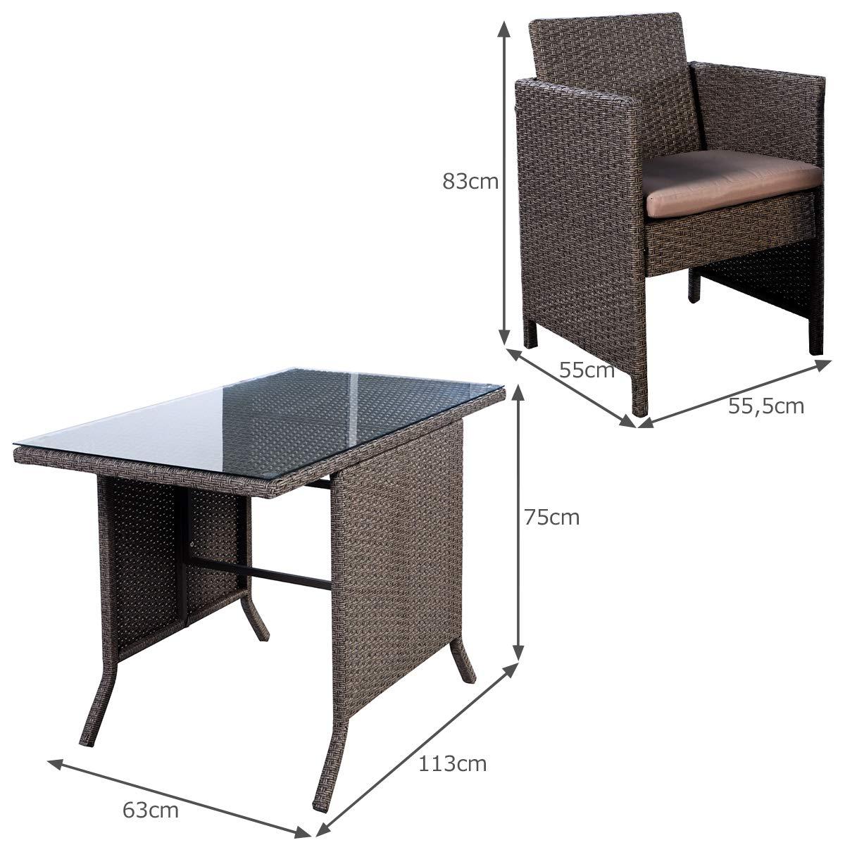 Tavolo e 2 Poltrone da Salotto con Cuscini COSTWAY 3 Pezzi Set di Mobili da Giardino in Rattan