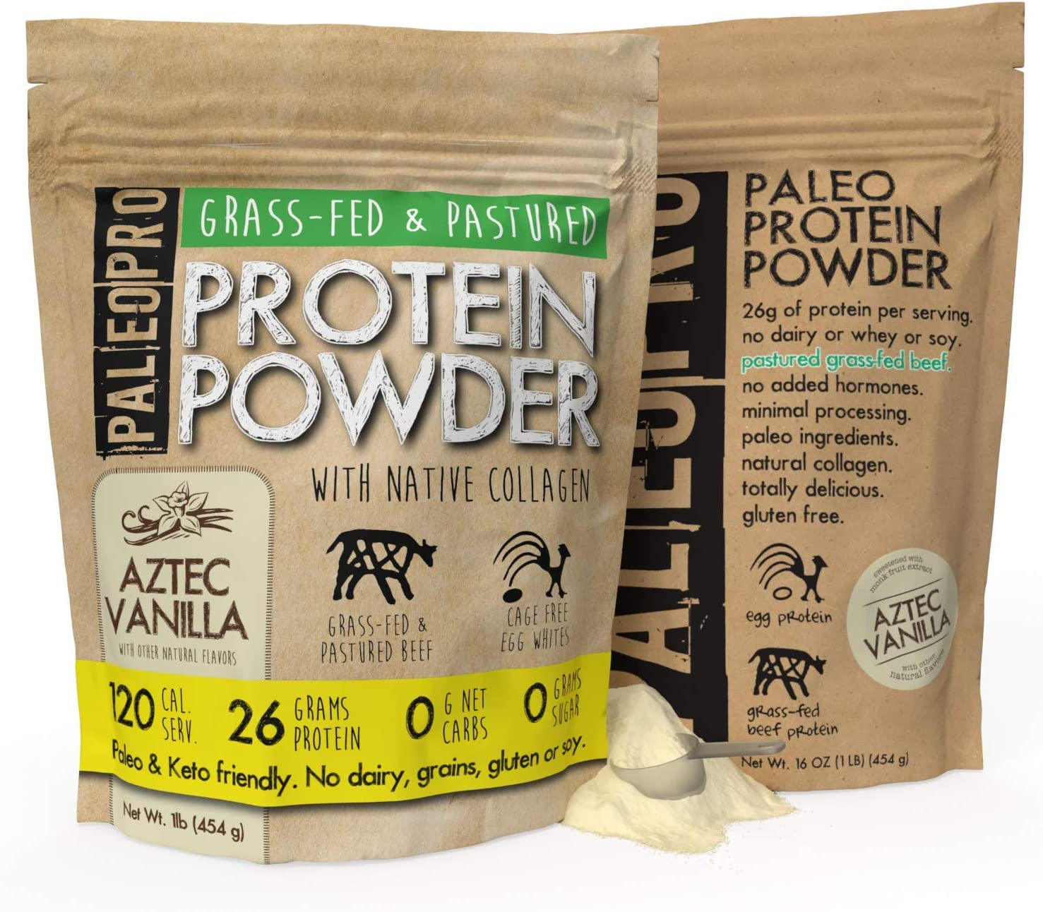 PaleoPro Protein Powder, Gluten Free, Dairy Free, Whey Free, Soy Free, No Added Hormones, Pastured Grass-fed Beef, Minimally Processed Paleo Ingredients, 1lb/454g, About 15 Servings, Aztec Vanilla - packaging may vary