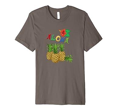 d1e1ac20a8 Men s Aloha Shirt Hawaii Pineapple Hibiscus Flower T-Shirt 3XL Asphalt