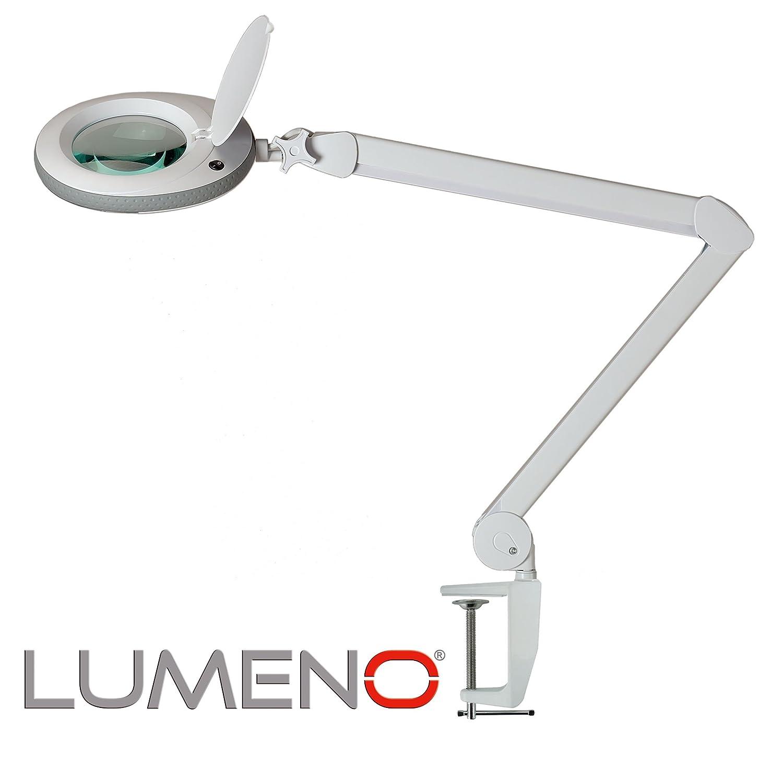 Lumeno Lámpara Lupa, lámpara de Trabajo, lámpara cosmética con 96 Leds, Gris, 721XGR para Salones de cosmética Ayuda de Lectura, Lupa de Lente, en 3, ...