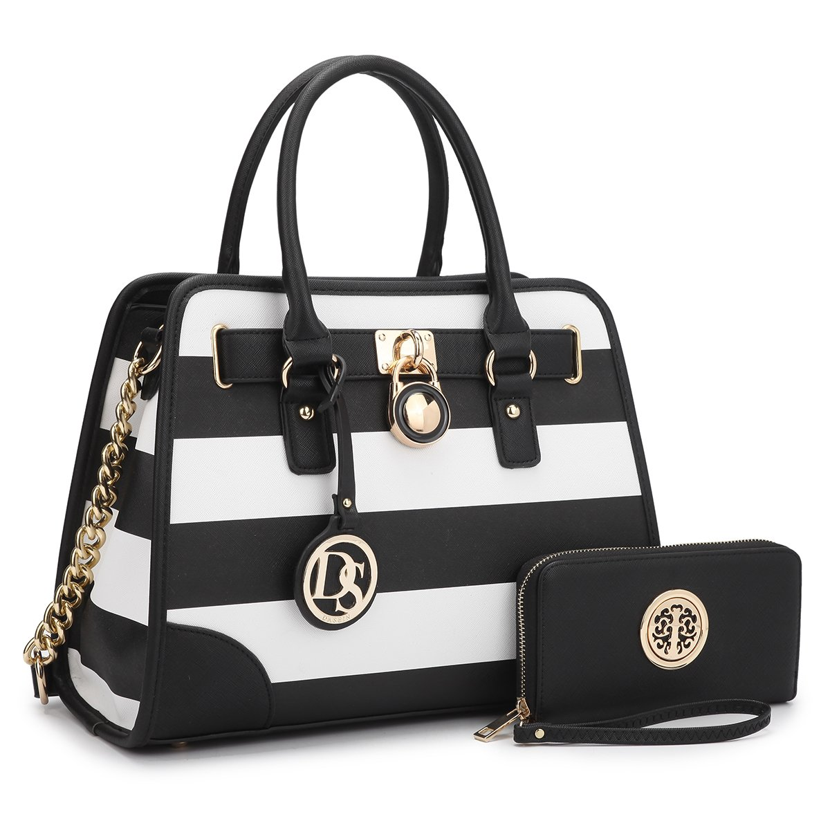 MMK collection Fashion Packlock Handbag for Women~Signature fashion Designer Purse with spring colors~Perfect Women Satchel Purse ~ Beautiful Designer handbag & wallet (XL-02-6892-Black/WHITE)