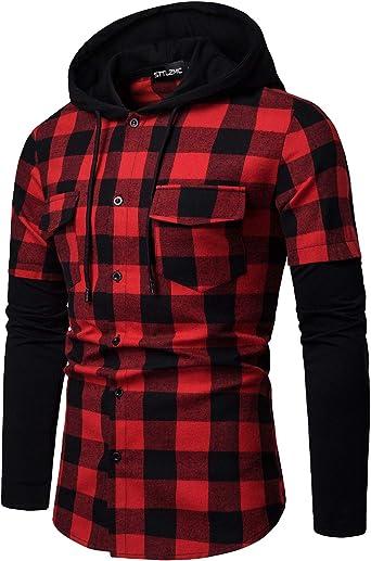 STTLZMC Hombre Sudadera con Capucha Camisa de Cuadros Cosiendo Manga Larga Botones Cordón Camisetas,Rojo,XL: Amazon.es: Ropa y accesorios