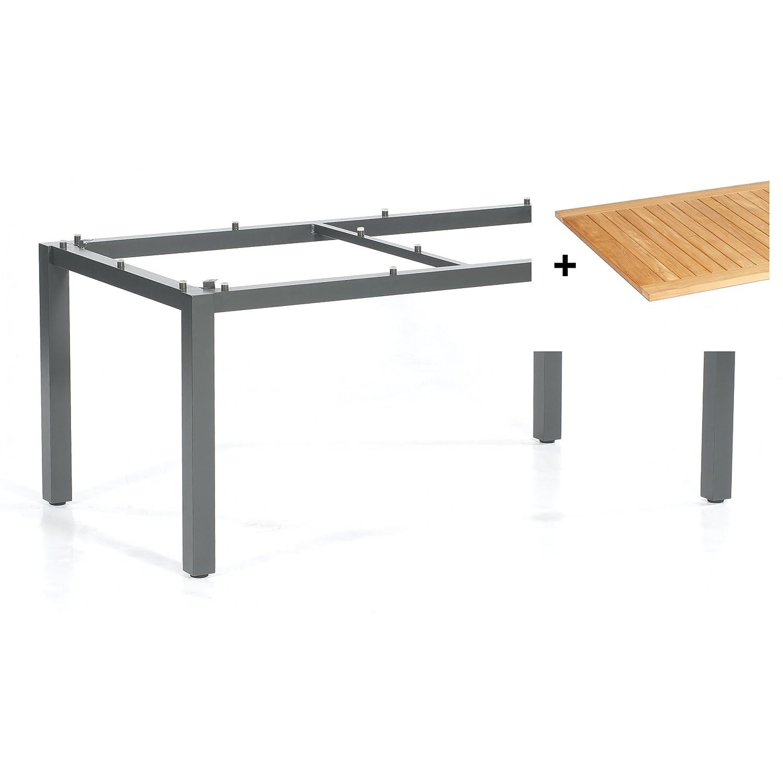 Sonnenpartner Tisch System Base Alu anthrazit Platte Teakholz natur 160 x 90 cm