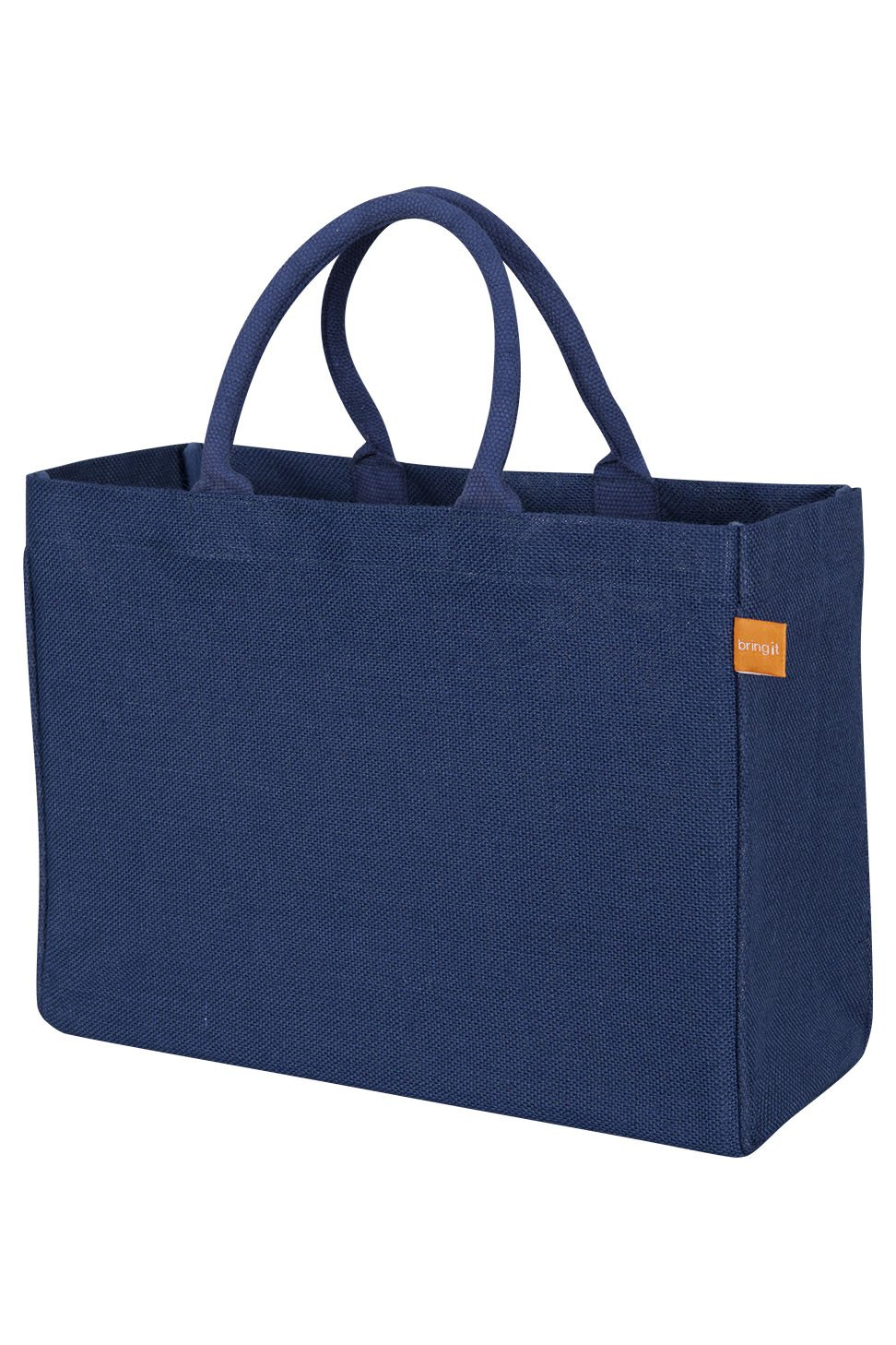 KAF Home Jute Market Tote Bag in Navy, Durable Handle, Reinforced Bottom and Interior Zipper Pocket, Generous capacity, 12.5'' tall x 17'' wide x 7'' deep