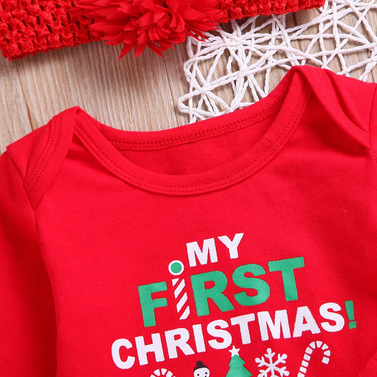 2c5f141f50b ... My First Christmas Outfit Toddler Newborn Baby Girls Xmas Romper+Bowknot  Santa Skirt+Headband