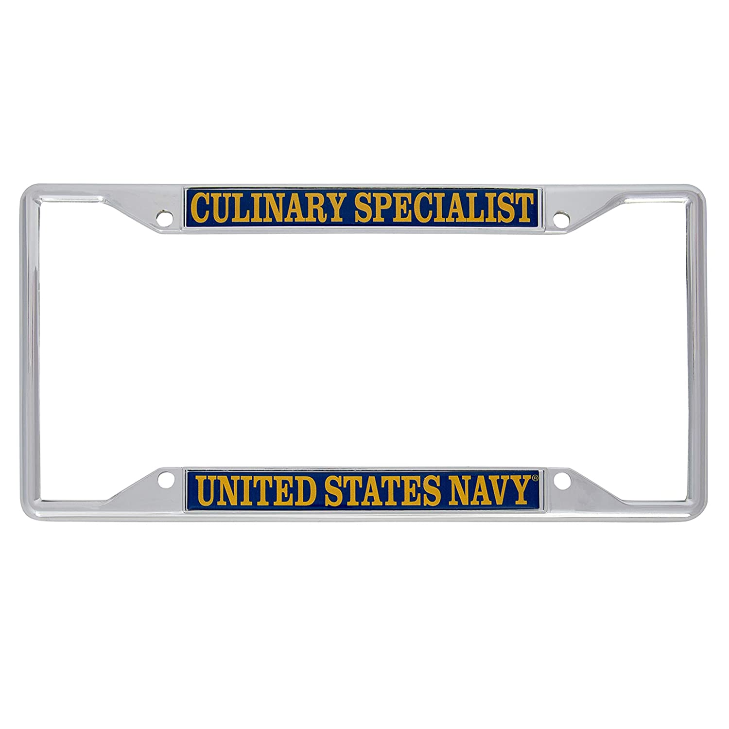 Desert Cactus US Navy Culinary Specialist Enlisted Rating Insignia License Plate Frame for Front Back of Car Officially Licensed United States