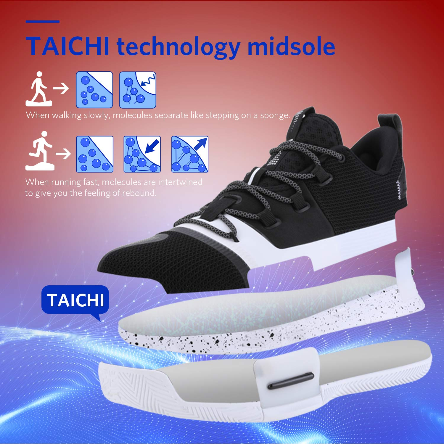 Fitness PEAK Mens Flash Basketball Shoes Lou Williams Underground Taichi Adaptive Cushioning Sneakers Non-Slip Sports Shoes for Running Walking